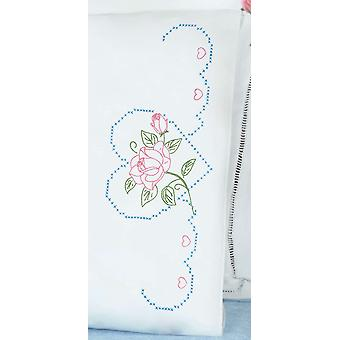Stamped Pillowcase With White Perle Edge 2 Pkg Rose And Heart 1600 380