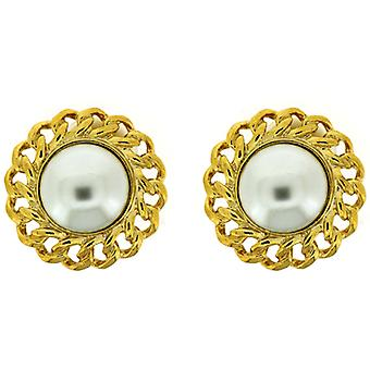 Kenneth Jay Lane Gold Braided Pearl Button Clip On Earrings
