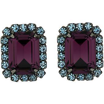 Kenneth Jay Lane Amethyst paars & blauwe Swarovski Crystal Clip op oorbellen