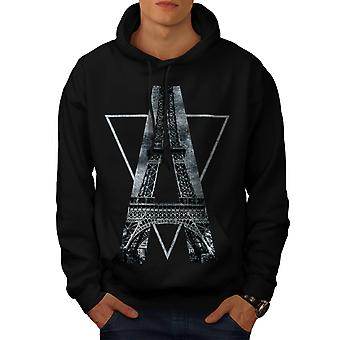 Eiffel Paris Art Fashion Men Black Hoodie | Wellcoda
