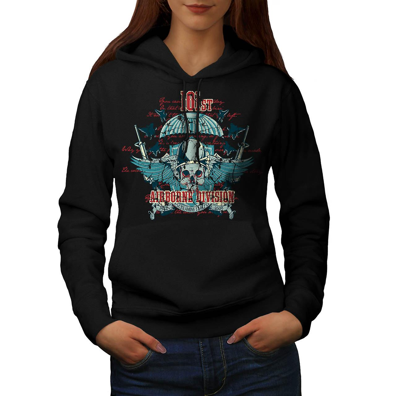 Airborne Division Fly War Flight Women Black Hoodie | Wellcoda