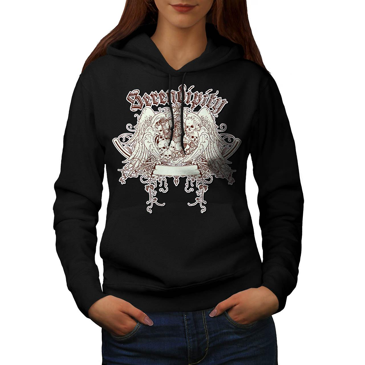 Serendipity Skull Fashion Grave Yard Women Black Hoodie | Wellcoda