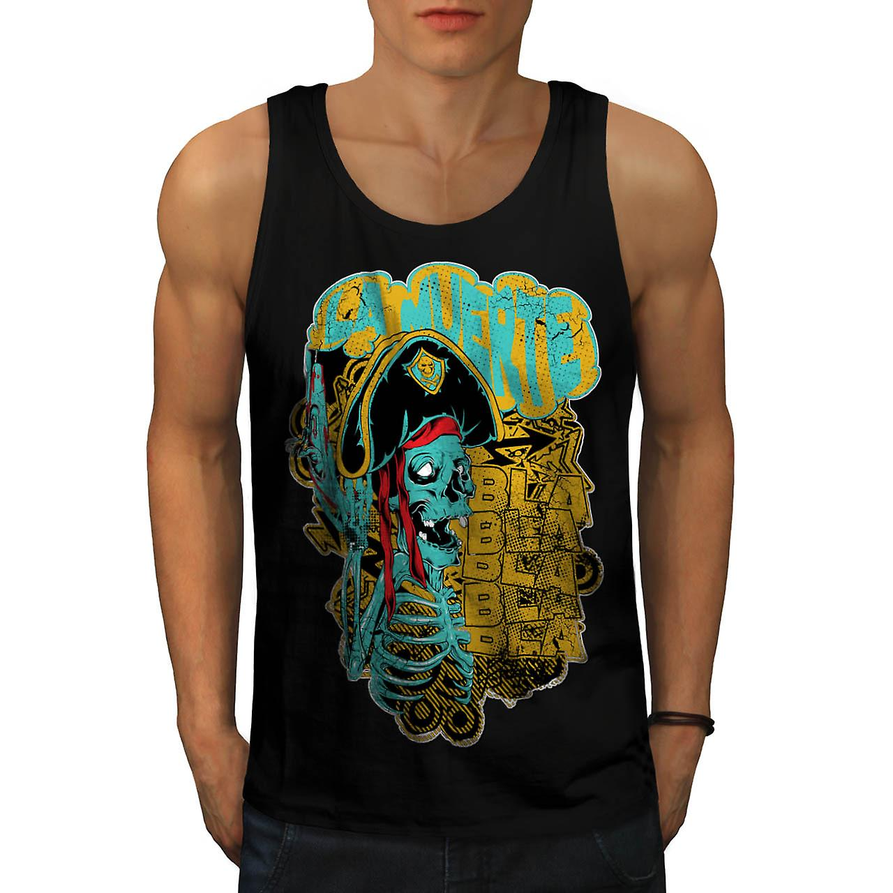 Pirate Skull Ghost Danger Talk Men Black Tank Top | Wellcoda