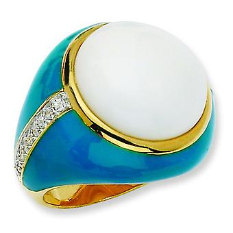 Gold-plated Sterling Silver Blue Enam Simul. Wht Agate and Cubic Zirconia Ring - Ring Size: 6 to 8