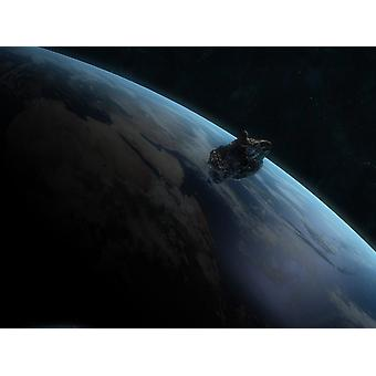 Asteroid in front of the Earth Poster Print