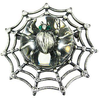 Rhinestone Accented Spider web & Spider Brooch Pin