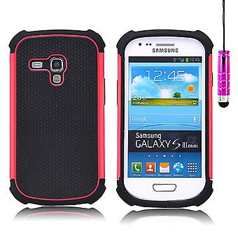 32e shock Proof Case Cover + stylus voor Samsung Galaxy S3 Mini i8190 - Hot Pink