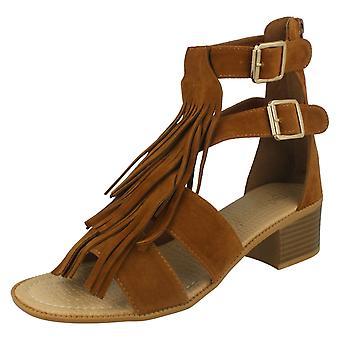 Womens Savannah Fringe Sandal Heel F10524