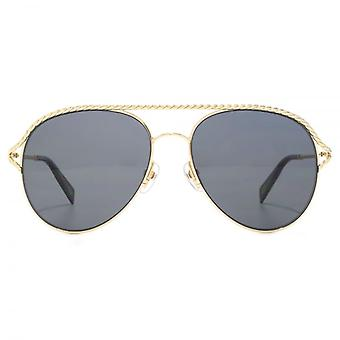 Marc Jacobs Metal Twist Aviator Sunglasses In Gold Black