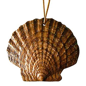 Tropical Beach Seashell Christmas Ornament mørk brun ORNShell16 harpiks