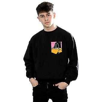 Looney Tunes Men's Daffy Duck Face Faux Pocket Sweatshirt
