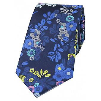 Posh and Dandy Small Flowers and Leaves Silk Tie - Navy/Blue