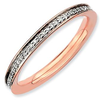 Sterling Silver Polished Prong set Stackable Expressions and Diamonds Pink-plated Ring - Ring Size: 5 to 10