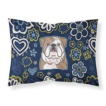 青い花英語ブルドッグ ファブリックの標準的な枕