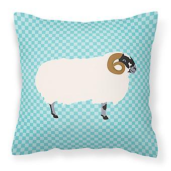 Scottish Blackface Sheep Blue Check Fabric Decorative Pillow