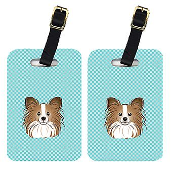 Carolines Treasures  BB1186BT Pair of Checkerboard Blue Papillon Luggage Tags