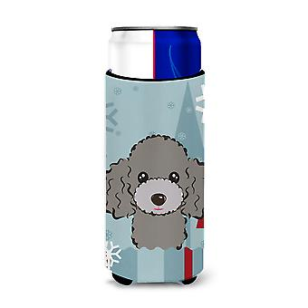 Winter Holiday Silver Gray Poodle Ultra Beverage Insulators for slim cans