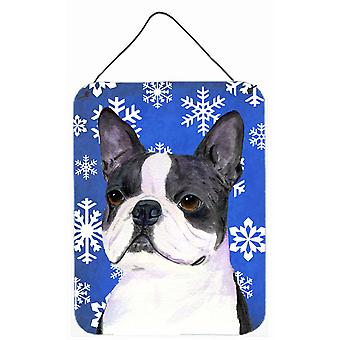 Boston Terrier Winter Snowflakes Holiday Wall or Door Hanging Prints