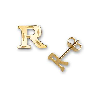 14k Yellow Gold Initial R Stamping for boys or girls Earrings - Measures 6x6mm