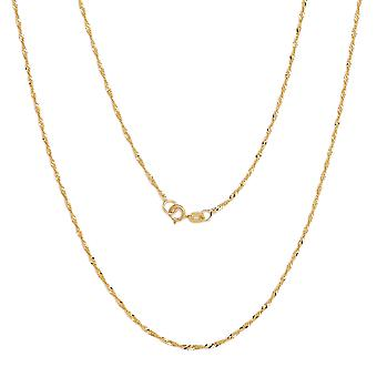 10k Fine Gold Ultra Thin Singapore Chain Necklace, 0.04 Inch (1mm)