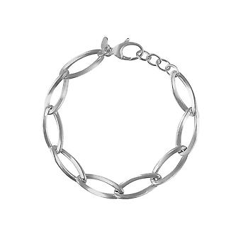 Sterling Silver Womens Elegant Solid Curve Link Fine Chain Bracelet with Length Adjustable