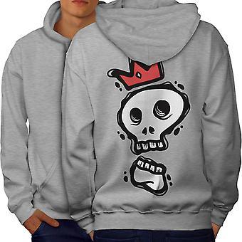 Skull Of The King Men GreyHoodie Back | Wellcoda