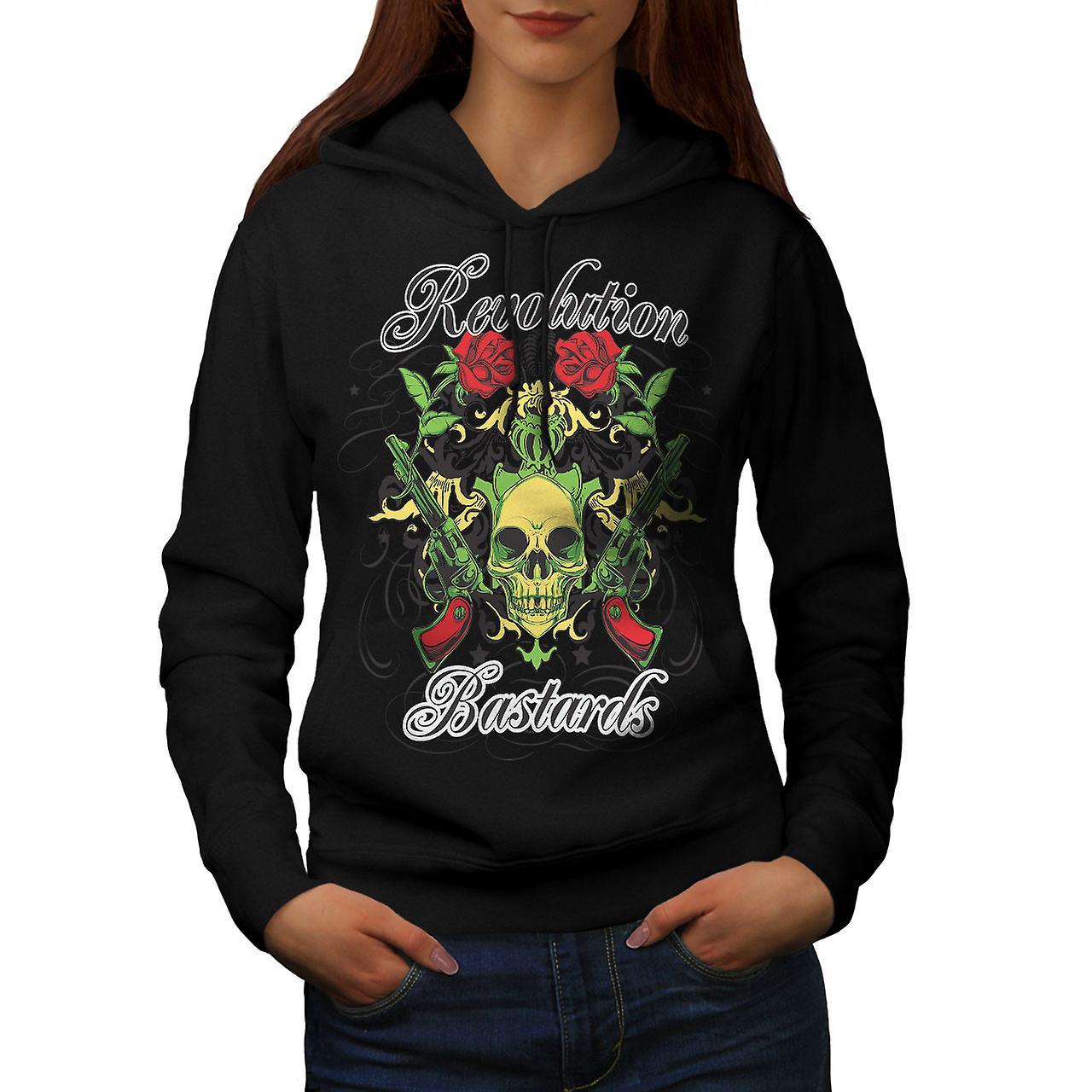 Revolution Bastards Skull Women Black Hoodie | Wellcoda