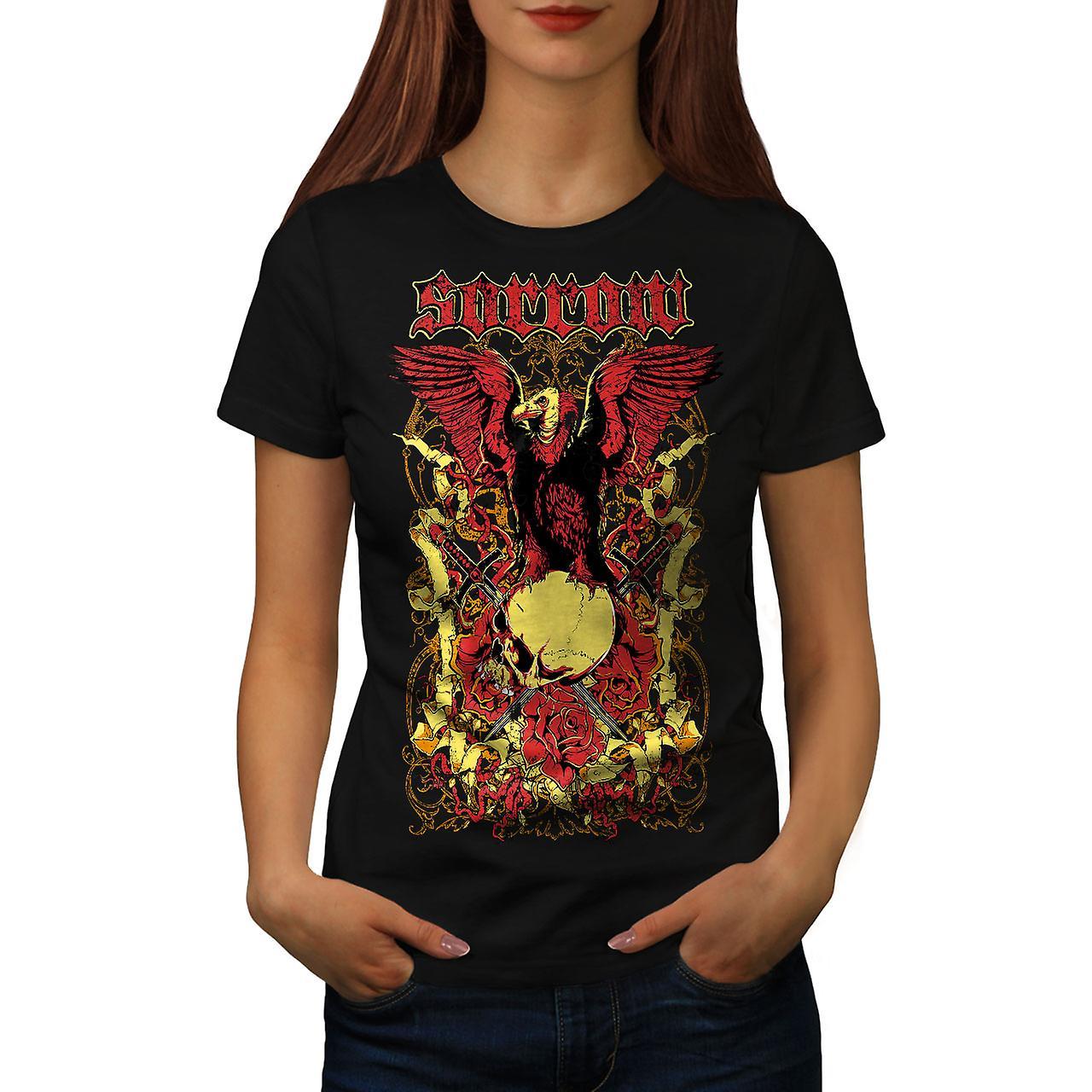 Sorrow Eagle Rose Skull Women Black T-shirt | Wellcoda