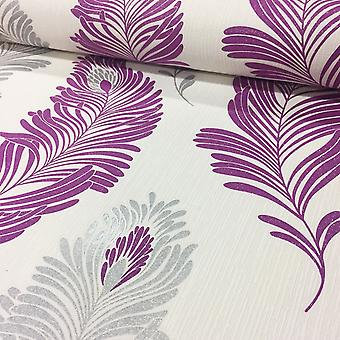 Fern Leaf Tree Wallpaper Glitter Expanded Textured Vinyl Purple AS Creation