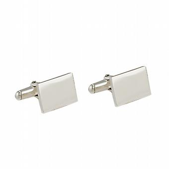 Silver 12x17mm plain oblong swivel Cufflinks