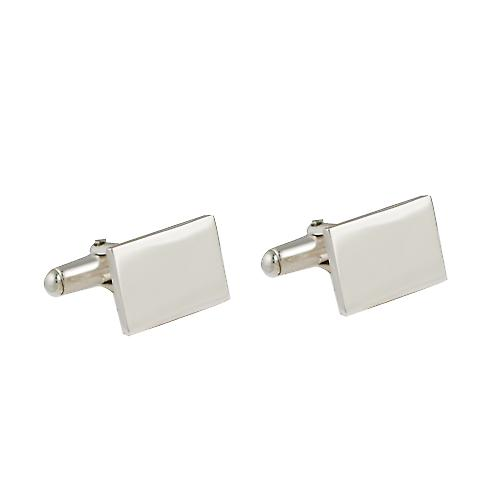 Silver 12x17mm oblong plain swivel Cufflinks