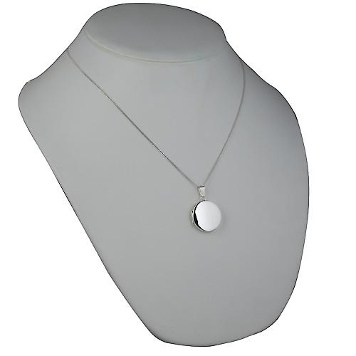 Silver 23mm plain flat round Locket with a curb Chain 20 inches