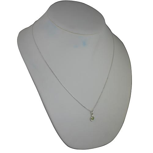 Silver 12x7mm Pendant set with 4mm round Peridot on a Chain 24 inches