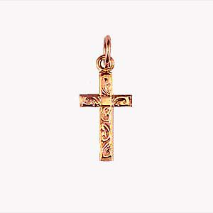 9ct Rose Gold 17x10mm hand engraved solid block Cross