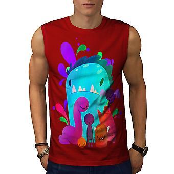 Little Monster Cute Men RedSleeveless T-shirt | Wellcoda