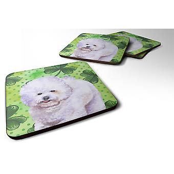 Set of 4 Bichon Frise St Patrick's Foam Coasters Set of 4
