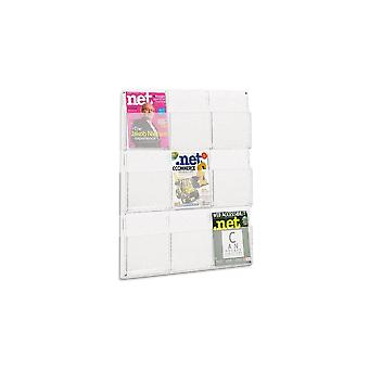 9 Pocket A4 Brochure Holder - Wall Mounted