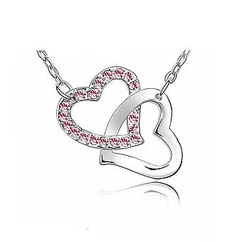 Womens Silver Tone Love Intertwined Heart Pendant Necklace Pink Stones