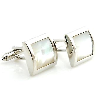 Mens Ladies Silver Tone Cufflinks With Mother Of Pearl Stone Wedding Formal Business