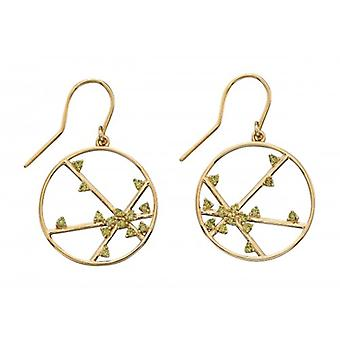 Elements Silver Spider Web Design Drop Earrings - Gold/Khaki