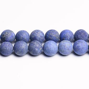 Strand 45+ Blue Lapis Lazuli 8mm Frosted Plain Round Beads CB31196-3
