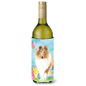 Easter Eggs Rough Collie Wine Bottle Beverge Insulator Hugger