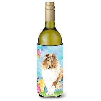 Pascua huevos Rough Collie botella de vino Beverge aislador Hugger
