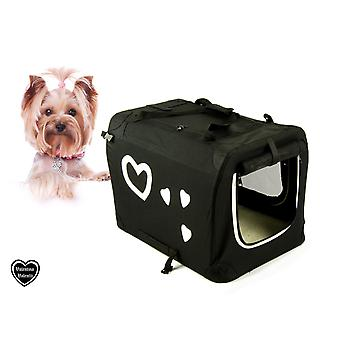 VALENTINA VALENTTI MEDIUM PET FOLDING CARRIER TRANSPORT CRATE WITH HEARTS M