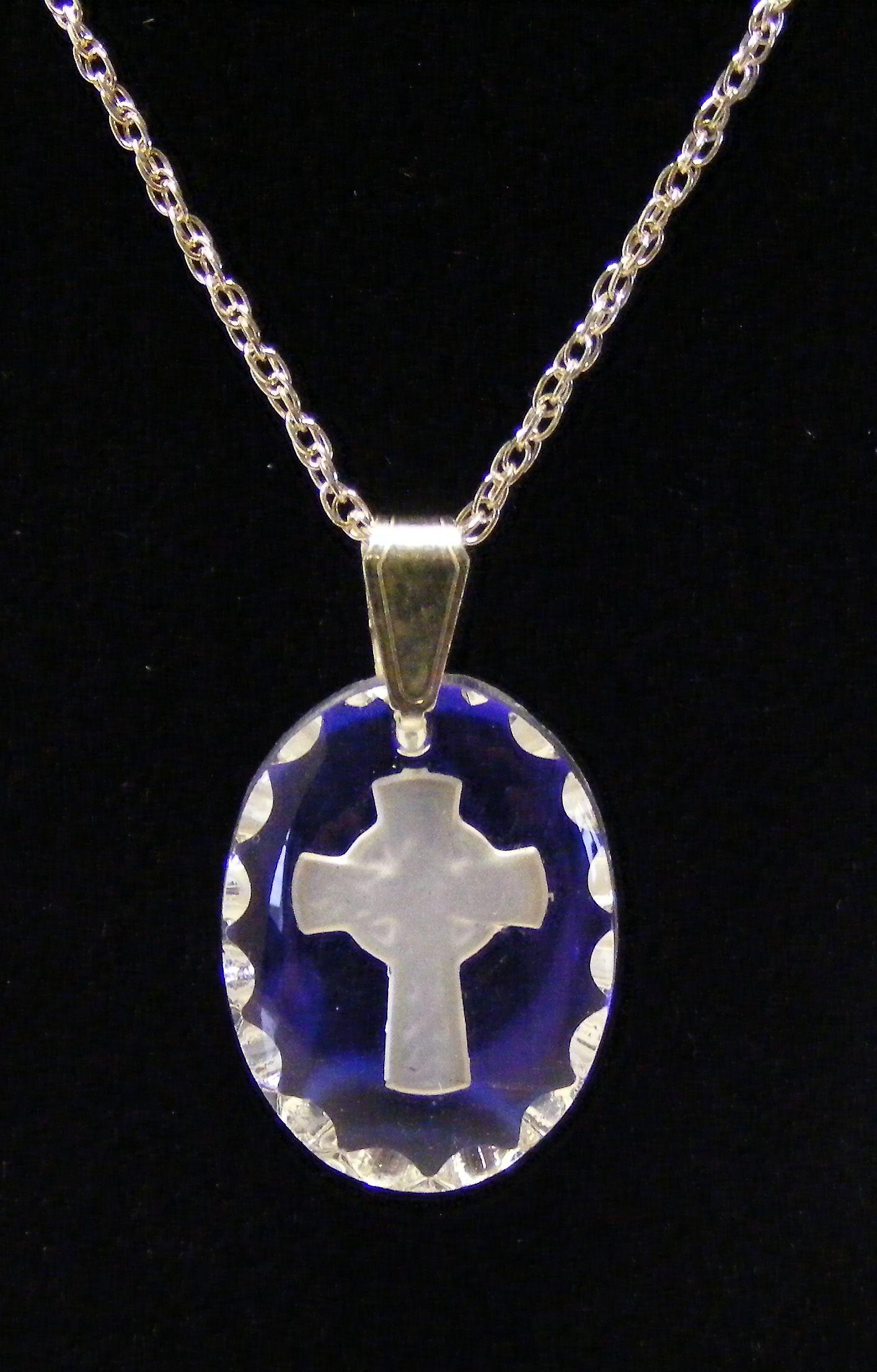 Ice Blue Small Celtic Cross Crystal Pendant