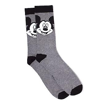 Disney Mickey Mouse Big Face Crew Socks, 39/42, Grey/Black (FC267641MCK-39/42)