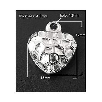 Packet 2x Silver 304 Stainless Steel 12 x 13mm Heart Charm/Pendant ZX20095