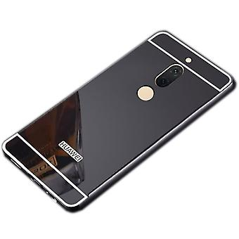 Mirror / Mirror aluminium bumper 2 pieces with cover black for Huawei honor view 10 / V10 Pocket case
