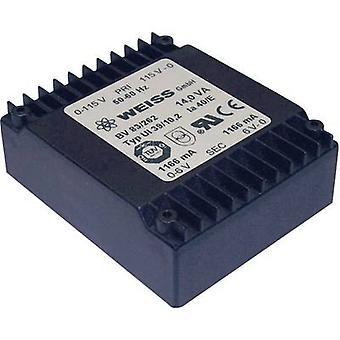 PCB mount transformer 1 x 230 V 2 x 9 V AC 14 VA 778 mA 83/264 Weiss Elektrotechnik