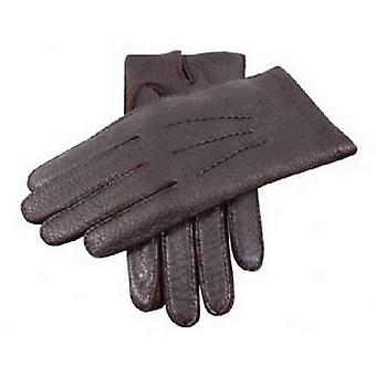 Dents Bark Handsewn Cashmere Lined Peccary Gloves - Brown